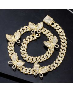 Iced Miami Cuban Link Chain With Rotating Butterfly in Gold
