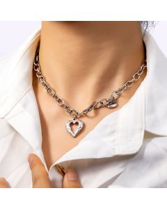 Women's Stainless Steel Double Heart Toggle Clasp Necklace