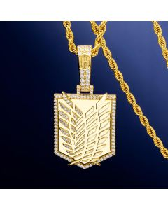 Iced Wings Shield Pendant in Gold