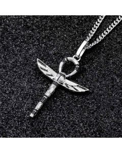 Iced Ankh Wings Pendant