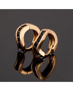 Black Stones Curved Hoop Earrings in Gold
