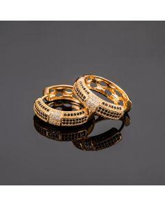 Large White*Black Stones Hoop Earrings in Rose Gold