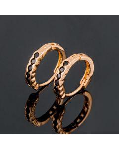 Black Stones Hoop Earrings in Rose Gold