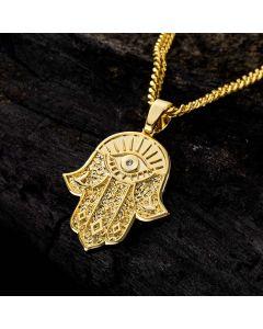 Hamsa Hand Pendant in Gold