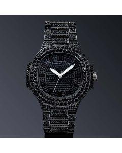 Iced Porthole Shape Luminous Watch in Black Gold