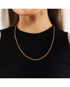 3mm 18K Gold Finish Rope Chain for Women