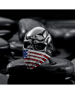 American Flag Skull Stainless Steel Ring