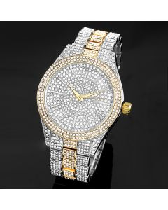 Two-Tone Fully Iced Round Bezel Men's Watch