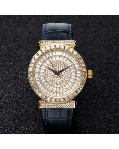 Baguette Cut Dial Watch with Genuine Leather Strap in Gold