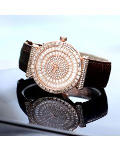 Baguette Cut Dial Watch with Genuine Leather Strap in Rose Gold