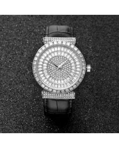 Baguette Cut Dial Watch with Genuine Leather Strap in White Gold