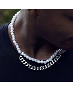 8mm Pearl with Cuban Chain Necklace