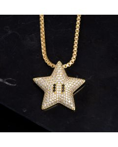 Iced Star Pendant in Gold