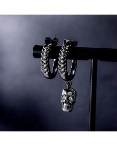 Asymmetric Skull Hoop Earrings in Black Gold
