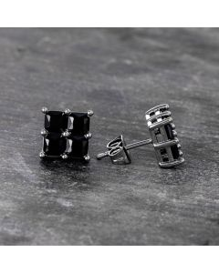 Black Square Stud Earrings-9*9mm