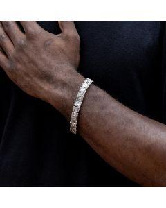 10mm Baguette Clustered Tennis Bracelet in White Gold
