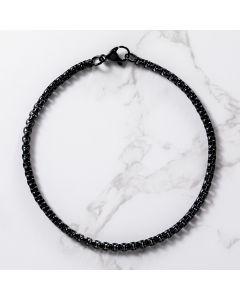 3mm Round Box Bracelet in Black Gold