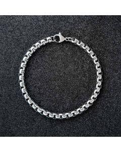 5mm Round Box Bracelet in White Gold