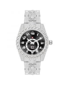 Iced Arabic Numerals Black Dial Men's Watch in White Gold