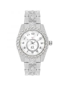 Iced Arabic Numerals Men's Watch in White Gold