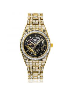 Iced Men's Mechanical Watch with Baguette Stones in Gold