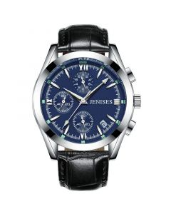 40mm Blue Dial Men's Watch with Black Leather Strap